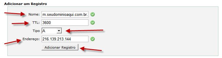 cPanel > Editor de Zona DNS Avançado > Adicionar m.seudominio.com.br